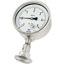 Pressure gauge in hygienic design with mounted diaphragm seal